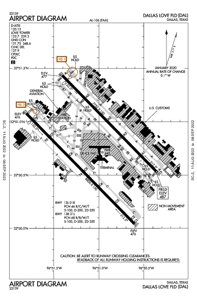 Dallas Love Field Airport (دالاس، تكساس): KDAL Airport Diagram