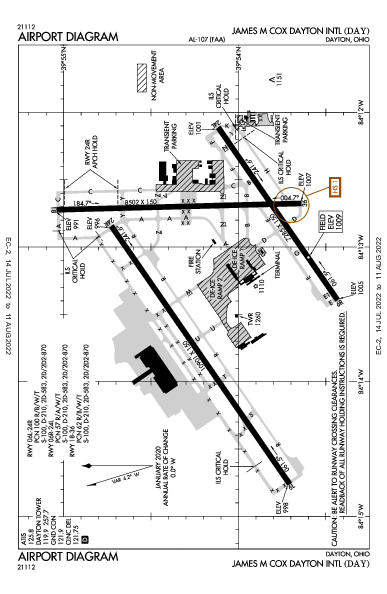 James M Cox Dayton Intl Airport (Dayton, OH): KDAY Airport Diagram