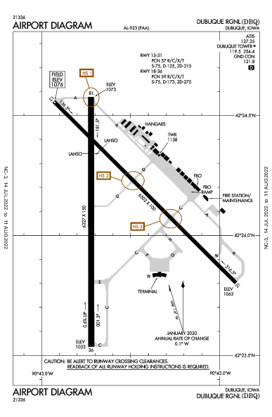 Dubuque Rgnl Airport (Dubuque, IA): KDBQ Airport Diagram