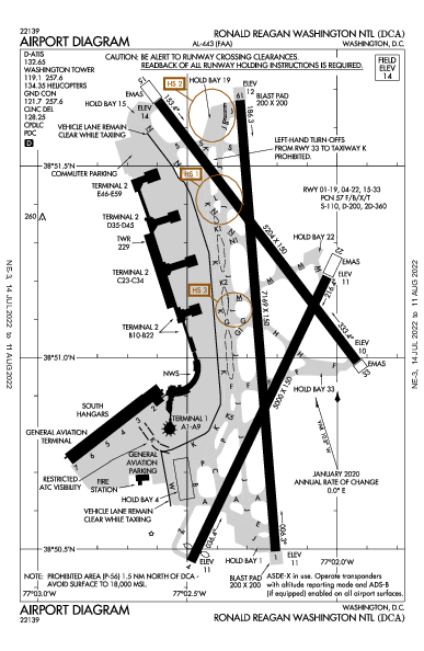 Reagan National Airport (Washington, DC): KDCA Airport Diagram