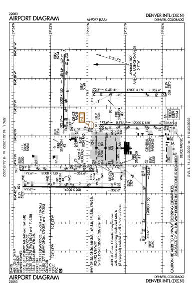 デンバー国際空港 Airport (Denver, CO): KDEN Airport Diagram