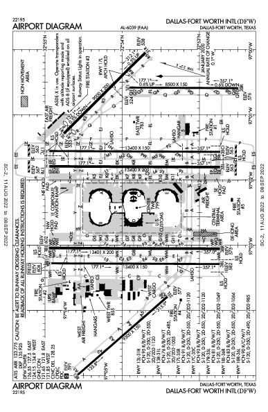 ダラス・フォートワース国際空港 Airport (Dallas-Fort Worth, TX): KDFW Airport Diagram