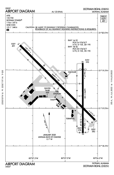 Dothan Rgnl Airport (Dothan, AL): KDHN Airport Diagram