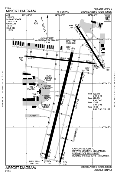 Dupage Airport (Chicago/West Chicago, IL): KDPA Airport Diagram