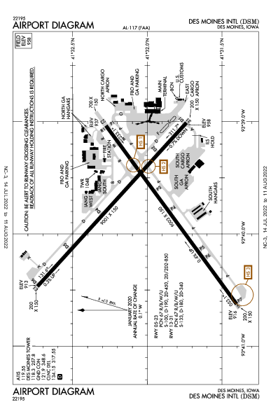 デモイン国際空港 Airport (Des Moines, IA): KDSM Airport Diagram