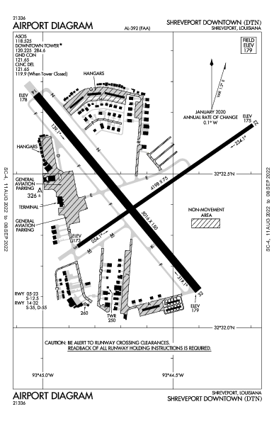 Shreveport Downtown Airport (Shreveport, LA): KDTN Airport Diagram