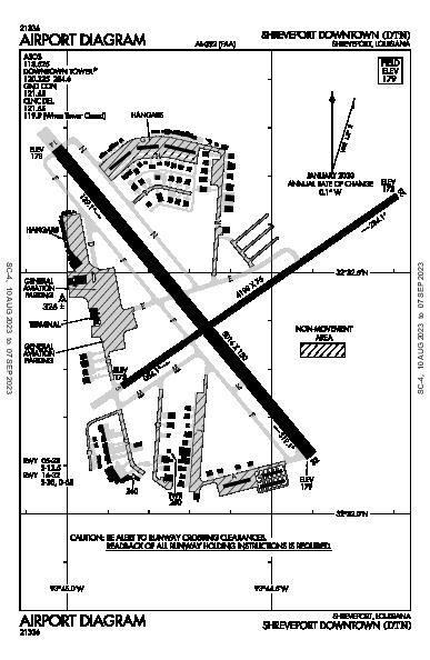 Shreveport Downtown Airport (Shreveport, LA): KDTN Airport Diagram