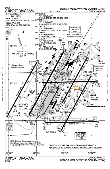 Detroit Metro Wayne Co Airport (Detroit, MI): KDTW Airport Diagram