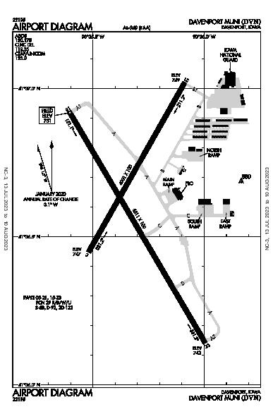Davenport Muni Airport (Davenport, IA): KDVN Airport Diagram