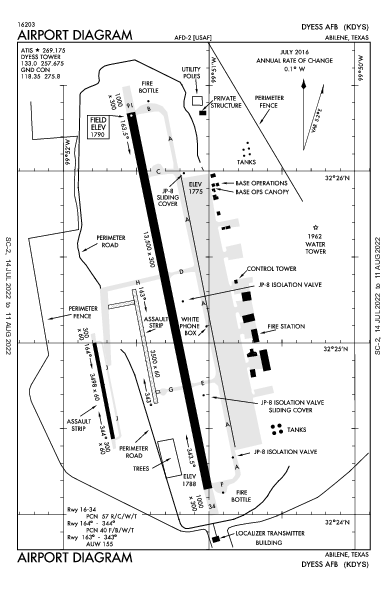 Dyess Afb Airport (Abilene, TX): KDYS Airport Diagram