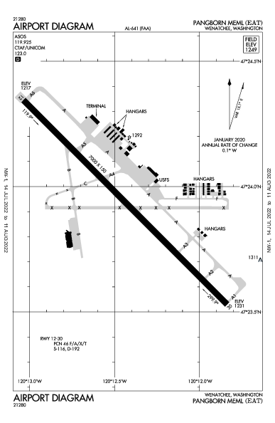 Pangborn Meml Airport (Wenatchee, WA): KEAT Airport Diagram