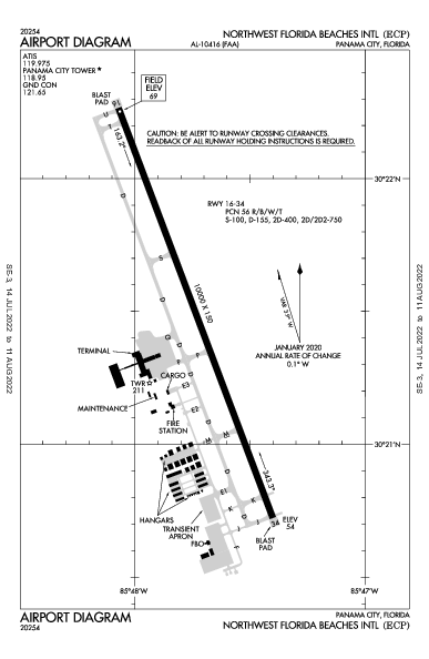 Northwest Florida Beaches Intl Airport (Panama City, FL): KECP Airport Diagram