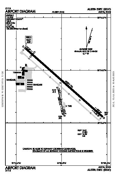 Austin Exec Airport (Austin, TX): KEDC Airport Diagram