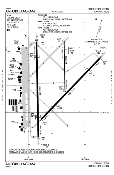 Ellington Airport (Houston, TX): KEFD Airport Diagram