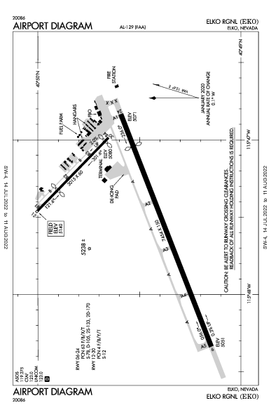 Elko Rgnl Airport (Elko, NV): KEKO Airport Diagram