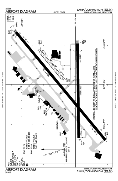 Elmira/Corning Rgnl Airport (Elmira/Corning, NY): KELM Airport Diagram