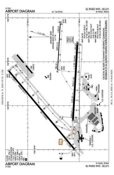 El Paso Intl Airport (إل باسو، تكساس): KELP Airport Diagram