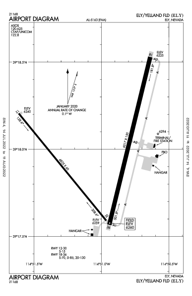 Ely/Yelland Fld Airport (Ely, NV): KELY Airport Diagram