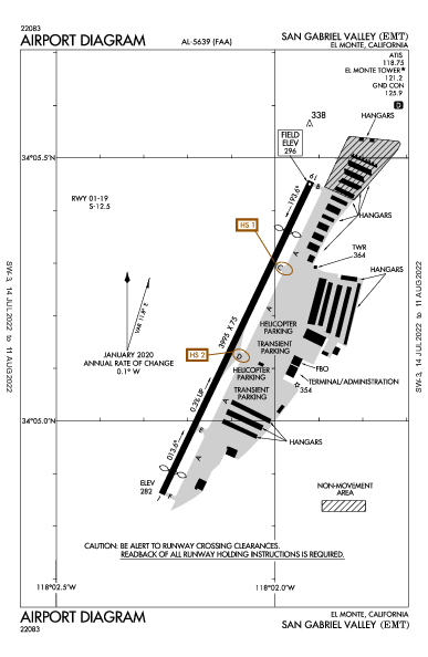 San Gabriel Valley Airport (El Monte, CA): KEMT Airport Diagram