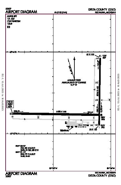 Delta County Airport (Escanaba, MI): KESC Airport Diagram