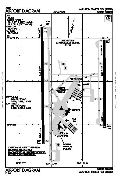 Mahlon Sweet Field Airport (Eugene, OR): KEUG Airport Diagram