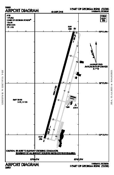 Heart of Georgia Rgnl Airport (Eastman, GA): KEZM Airport Diagram