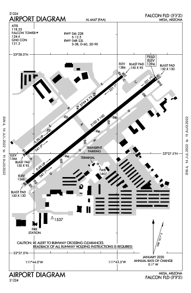 Falcon Fld Airport (Mesa, AZ): KFFZ Airport Diagram