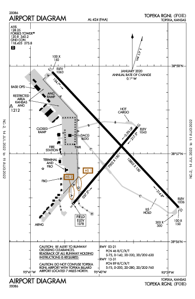 Forbes Field Airport (Topeka, KS): KFOE Airport Diagram