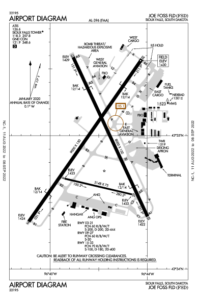 Joe Foss Field Airport (蘇瀑): KFSD Airport Diagram