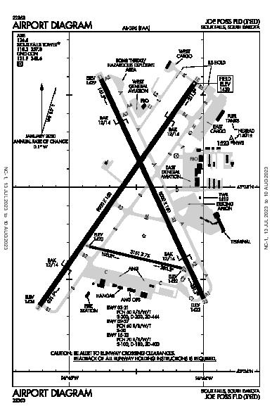 régional de Sioux Falls Airport (Sioux Falls, SD): KFSD Airport Diagram