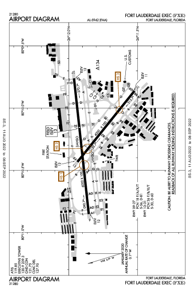 Fort Lauderdale Executive Airport (Fort Lauderdale, FL): KFXE Airport Diagram