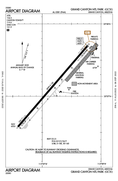 Grand Canyon Airport (Grand Canyon, AZ): KGCN Airport Diagram