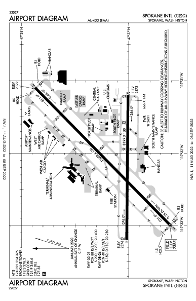 Spokane Intl Airport (سبوكين): KGEG Airport Diagram