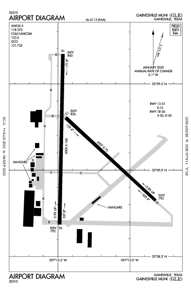Gainesville Muni Airport (Gainesville, TX): KGLE Airport Diagram