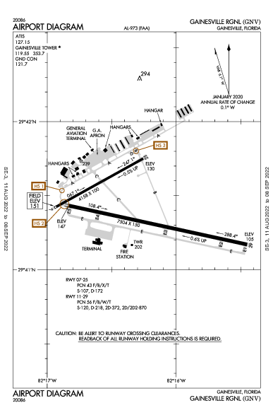 Gainesville Rgnl Airport (Gainesville, FL): KGNV Airport Diagram