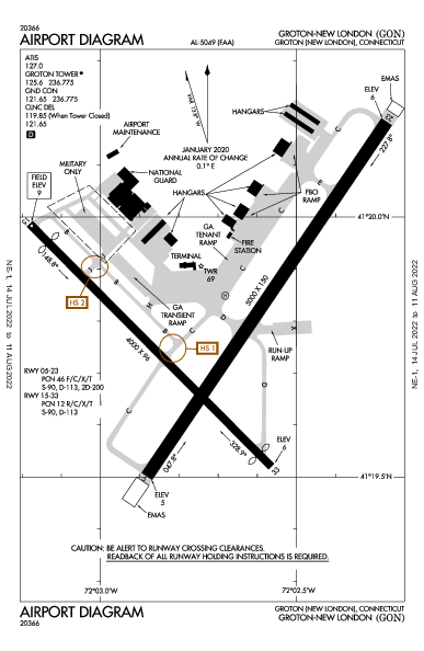 Groton-New London Airport (Groton (New London), CT): KGON Airport Diagram