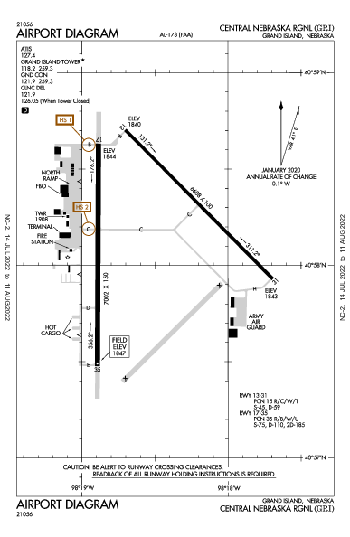 Central Nebraska Rgnl Airport (Grand Island, NE): KGRI Airport Diagram