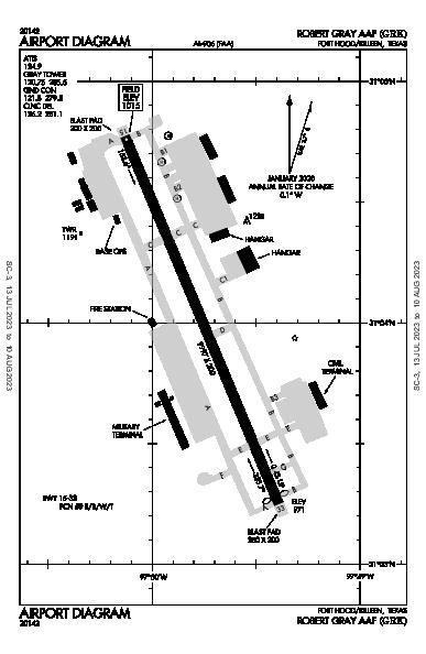 Robert Gray Aaf Airport (Fort Hood/Killeen, TX): KGRK Airport Diagram