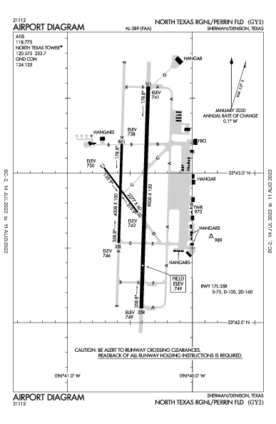 North Texas Rgnl/Perrin Field Airport (Sherman/Denison, TX): KGYI Airport Diagram