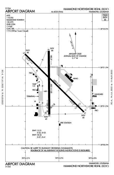 Hammond Northshore Rgnl Airport (Hammond, LA): KHDC Airport Diagram