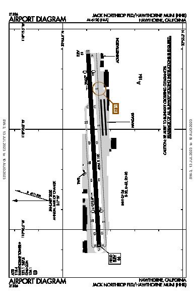 Hawthorne Municipal  Airport (Hawthorne, CA): KHHR Airport Diagram