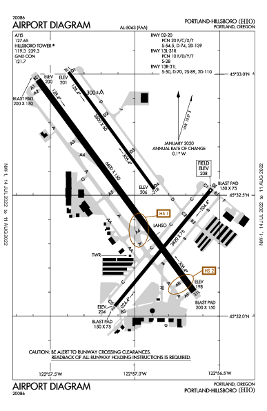 Portland-Hillsboro Airport (Portland, OR): KHIO Airport Diagram