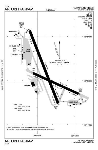 Hawkins Field Airport (Jackson, MS): KHKS Airport Diagram