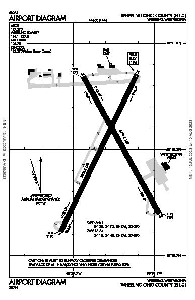 Wheeling Ohio Co Airport (Wheeling, WV): KHLG Airport Diagram