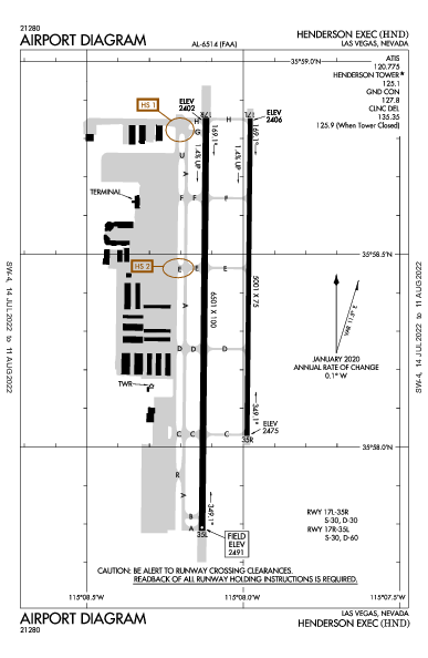 Henderson Executive Airport (Las Vegas, NV): KHND Airport Diagram