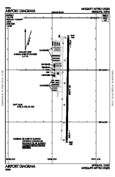 Mesquite Metro Airport (Mesquite, TX): KHQZ Airport Diagram