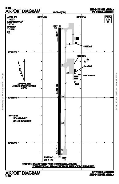 Stennis Intl Airport (Bay St Louis, MS): KHSA Airport Diagram