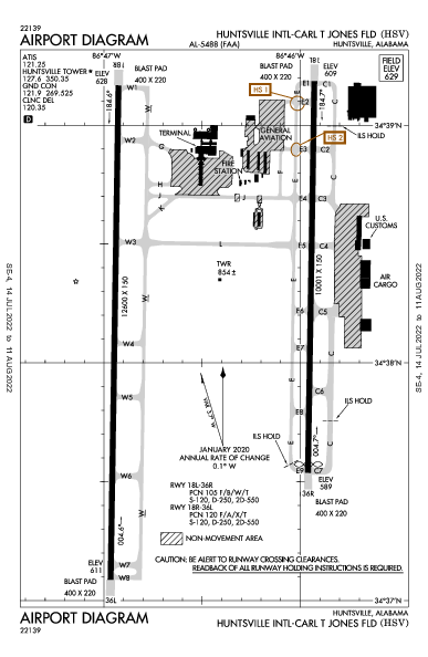 Huntsville Intl Airport (Huntsville, AL): KHSV Airport Diagram