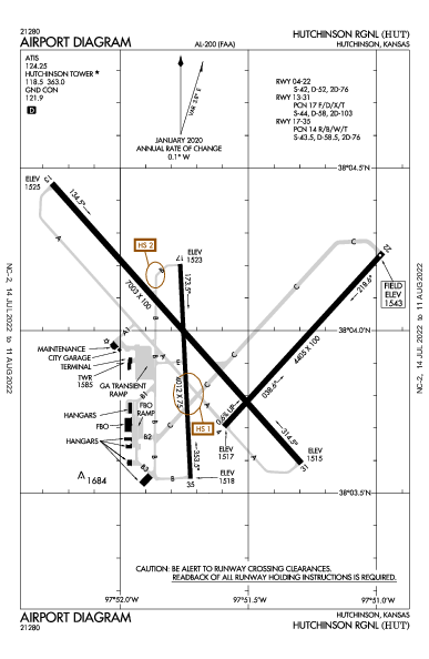 Hutchinson Muni Airport (Hutchinson, KS): KHUT Airport Diagram