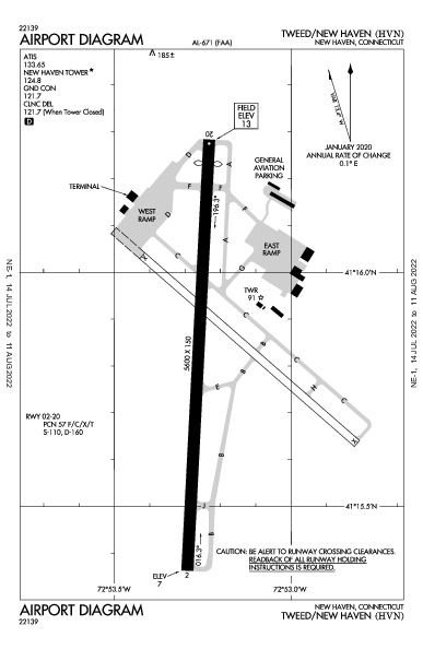 Tweed-New Haven Airport (New Haven, CT): KHVN Airport Diagram